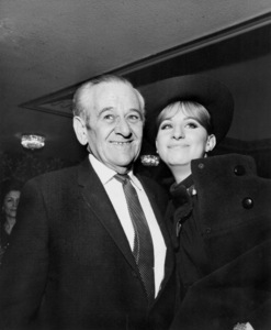 "William Wyler (director of ""Funny Girl"") and Barbra Streisand attend the Golden Globes nominees reception at the Ambassador Hotel1969** B.D.M. - Image 24293_2628"