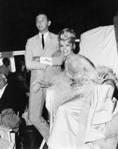 "Costume designer Donfeld (Don Feld) and Dorothy Provine on the set of ""The Great Race""1965 Warner Bros.** B.D.M. - Image 24293_2630"