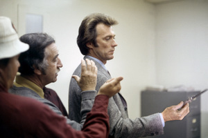"Director Don Siegel and Clint Eastwood on the set of ""Dirty Harry""1971 Warner Bros.** B.D.M. - Image 24293_2780"
