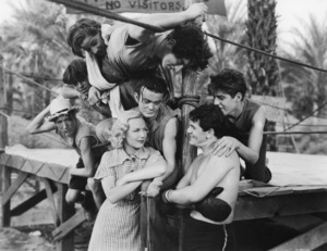 "Clockwise from left: Huntz Hall, Bernard Punsley, Bobby Jordan, Gabriel Dell, Billy Halop, John Garfield, Leo Gorcey and Gloria Dickson in ""They Made Me a Criminal""1939 Warner Bros.** B.D.M. - Image 24293_2917"