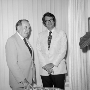 """Utah Governor Calvin L. Rampton and Sidney """"Sid"""" Sheinberg at a studio party for """"Airport 1975"""" 1974** B.D.M. - Image 24293_2997"""