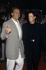 Arnold Schwarzenegger and Sylvester Stallonecirca 1990© 1990 Gary Lewis - Image 24300_0120