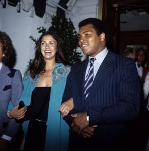 Lynda Carter and Muhammad Ali attending a dinner at Chasen
