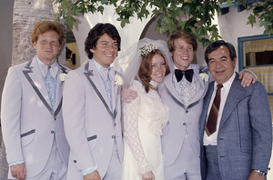 Don Most, Anson Williams and Tom Bosley with Ron Howard on his wedding day to wife Cheryl1975© 1975 Gary Lewis - Image 24300_0509