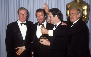 "Michael Caine, Roger Moore, Kevin Kline and Sean Connery at ""The 61st Annual Academy Awards""1989© 1989 Gary Lewis - Image 24300_0696"