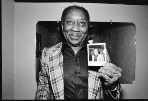 Muddy Waters photographed in the dressing room of a Long Island club named
