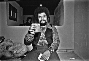 George Duke photographed in the dressing room of a Long Island club named