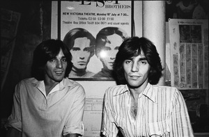 The Alessi Brothers, Billy and Bobby, photographed in the dressing room of a Long Island club named