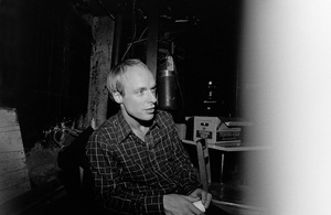 Brian Eno photographed in the dressing room of a Long Island club named