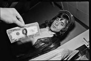 Eddie Money photographed in the dressing room of a Long Island club named