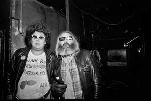 Mark Volman and Howard Kaylan of Flo and Eddie photographed in the dressing room of a Long Island club named