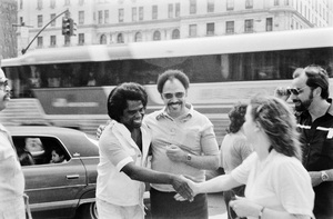 James Brown shaking hands near the Plaza Hotel in New York City 1979© 1979 Ken Shung - Image 24302_0082