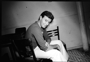 John McLaughlin photographed in the dressing room of a Long Island club named