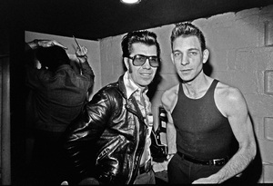 Link Wray and Robert Gordon photographed in the dressing room of a Long Island club named