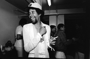 Stanley Clarke photographed in the dressing room of a Long Island club named