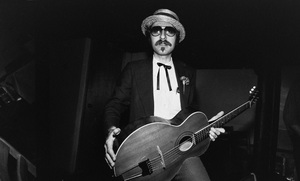 Leon Redbone photographed in the dressing room of a Long Island club named