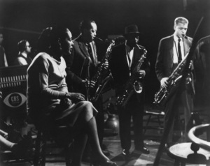 """Billie Holiday with Lester Young, Coleman Hawkins, and Gerry Mulligan on """"The Sound of Jazz"""" television series1957** I.V.M. - Image 24322_0180"""