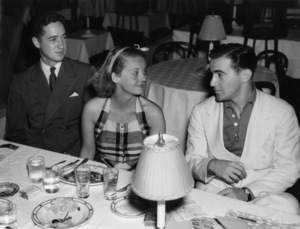 "Benny Goodman with Bette Davis and her husband, Harmon O. Nelson, at the Palomar Ballroom (""We"