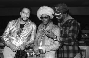 "Bernie Worrell and Raymond ""Ray"" Davis during the  Parliament-Funkadelic Earth Tourcirca mid 1970s© 1978 Bobby Holland - Image 24331_0056"