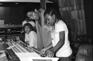 Patrice Rushen and Charles Mims Jr. (Co-Producer) with Peter Chaikin and Philip S. Moores at Conway Recording Studios in Los Angelescirca 1980s© 1980 Bobby Holland - Image 24331_0105