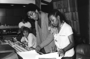 Patrice Rushen and Charles Mims Jr. (Co-Producer) with Peter Chaikin and Philip S. Moores at Conway Recording Studios in Los Angelescirca 1980s© 1980 Bobby Holland - Image 24331_0106