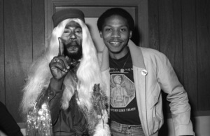 George Clinton of Parliament-Funkadelic and Music Journalist Steven Ivory hanging out backstage at The Philadelphia Spectrum, Philadelphia PA1978© 1978 Bobby Holland - Image 24331_0124