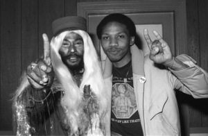 George Clinton of Parliament-Funkadelic and Music Journalist Steven Ivory hanging out backstage at The Philadelphia Spectrum, Philadelphia PA1978© 1978 Bobby Holland - Image 24331_0126