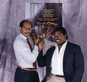 """Krush Groove"" producers George Jackson and Doug McHenry1985© 1985 Bobby Holland - Image 24331_0129"