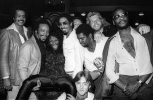 "Quincy Jones with Chaka Khan, Tony Maiden, Kevin Murphy, John ""J.R."" Robinson, Bobby Watson, Dave ""Hawk"" Wolinski and George Johnson  circa 1980s© 1980 Bobby Holland - Image 24331_0153"