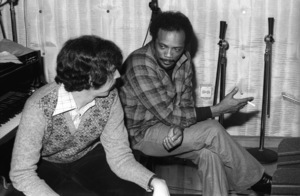 Rod Temperton and Quincy Jones at Allen Zentz Recording Studios, right at the beginning of laying down tracks for Michael Jackson