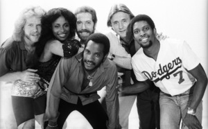"Rufus and Chaka Khan (Bobby Watson, John ""J.R."" Robinson, Tony Maiden, Kevin Murphy, Chaka Khan, Dave ""Hawk"" Wolinski) during the making of two music videos for the album ""Masterjam""1979© 1979 Bobby Holland - Image 24331_0173"