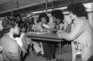 Switch (Phillip Ingram, Gregory Williams, Eddie Fluellen, Bobby DeBarge, Tommy DeBarge, Jody Sims) / Motown Records in-store sales promotion at Freeway Records in Los Angeles, CAcirca 1979© 1979 Bobby Holland - Image 24331_0208