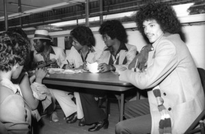 Switch (Phillip Ingram, Gregory Williams, Eddie Fluellen, Bobby DeBarge, Tommy DeBarge, Jody Sims) / Motown Records in-store sales promotion at Freeway Records in Los Angeles, CAcirca 1979© 1979 Bobby Holland - Image 24331_0209