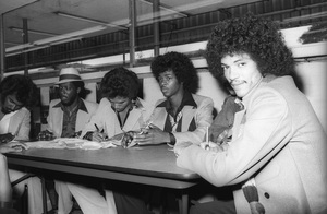 Switch (Phillip Ingram, Gregory Williams, Eddie Fluellen, Bobby DeBarge, Tommy DeBarge, Jody Sims) / Motown Records in-store sales promotion at Freeway Records in Los Angeles, CAcirca 1979© 1979 Bobby Holland - Image 24331_0210