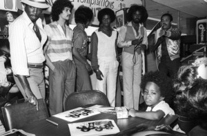 """""""Switch"""" at Freeway Records in Los Angeles, CA(Tommy DeBarge, Eddie Fluellen, Bobby DeBarge, Jody Sims, Phillip Ingram, Gregory Williams)circa 1979© 1979 Bobby Holland - Image 24331_0225"""