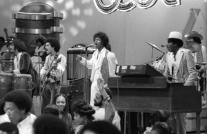 """""""Switch"""" performing live on Soul Train(Tommy DeBarge, Eddie Fluellen, Bobby DeBarge, Jody Sims, Phillip Ingram, Gregory Williams)circa 1970s© 1979 Bobby Holland - Image 24331_0235"""