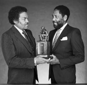 "Joseph Walter ""Joe"" Jackson receives award from Sidney Miller, publisher of Black Radio Exclusive Magazinecirca 1980s © 1980 Bobby Holland - Image 24331_0276"