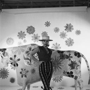 Model Sandra (Sandy) Warner during the album cover session for Martin Denny
