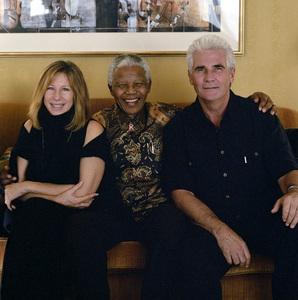 Barbra Streisand with Nelson Mandela and her husband, James Brolin2000© 2000 Dana Gluckstein - Image 24349_0066