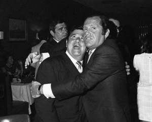 Buddy Hackett and Alan King at a party at the John Peel Room in Westbury, New York1968© 1978 Barry Kramer - Image 24354_0028
