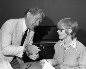 """James Whitmore rehearsing with Audra Lindley for """"New Mt. Olive Motel"""" at Playhouse in the Park in New York1973© 1978 Barry Kramer - Image 24354_0085"""