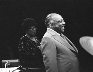 Ella Fitzgerald performing with Count Basie at the Westbury Music Fair1975© 1978 Barry Kramer - Image 24354_0262