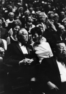 Howard Ahmanson and his wife, Caroline Leonetti, at the opening of the Mark Taper Forum1967© 1978 Bob Willoughby - Image 24356_0001