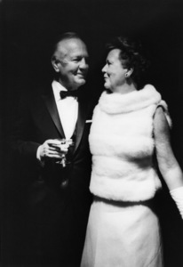 Howard Ahmanson and Dorothy Chandler at the opening of the Mark Taper Forum1967© 1978 Bob Willoughby - Image 24356_0003