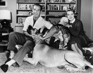 """Jose Ferrer and Rosemary Clooney at their Beverly Hills home with Phideux, their fuzzy white pup, and Cyrano, their huge Great Dane. Publicity photo for """"Deep in My Heart""""1954 MGM** I.V. - Image 24360_0007"""