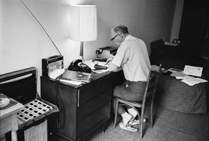 """Arthur C. Clarke at the Chelsea Hotel in New York City, where he wrote """"2001: A Space Odyssey""""circa 1964© 1978 Peter Angelo Simon - Image 24364_0003"""