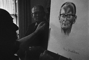"""Arthur C. Clarke and Rene Shapshak at the Chelsea Hotel in New York City, where he wrote """"2001: A Space Odyssey""""circa 1964© 1978 Peter Angelo Simon - Image 24364_0006"""