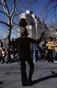 Philippe Petit street act at Washington Square Park in Greenwich Village, New York Citycirca 1984© 1984 Peter Angelo Simon - Image 24364_0053