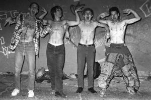 Red Hot Chili Peppers (Anthony Kiedis, Flea, Cliff Martinez, Jack Sherman)circa 1985© 1985 Ivy Ney - Image 24372_0029