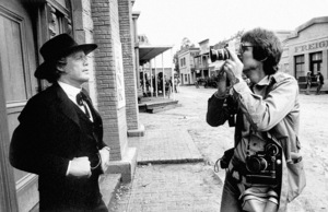 """Doug McClure and photographer Steve Banks on the Warner Brothers western street during the making of """"The Rebels""""1979© 1979 Steve Banks - Image 24377_0505"""
